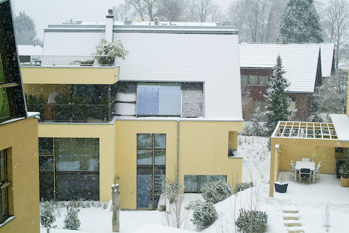 Snow on house