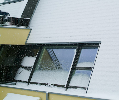 Snow build-up on windows