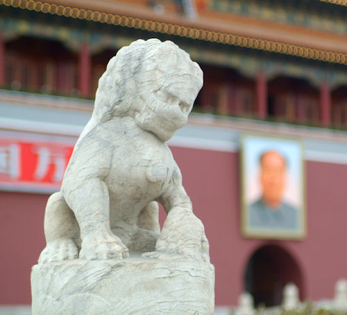 Lion statue at Tiananmen Square