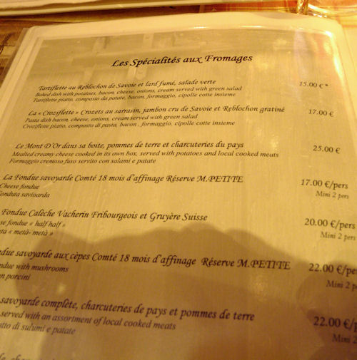 Menu of cheese specialities
