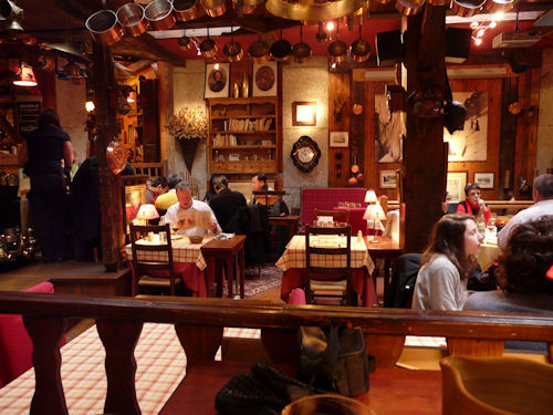 Kitsch rustic french restaurant interior