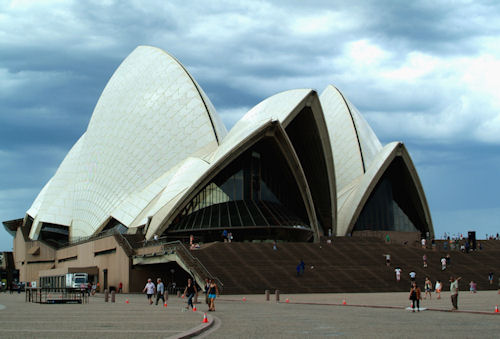 Sydney Opera House on a cloudy, stormy day