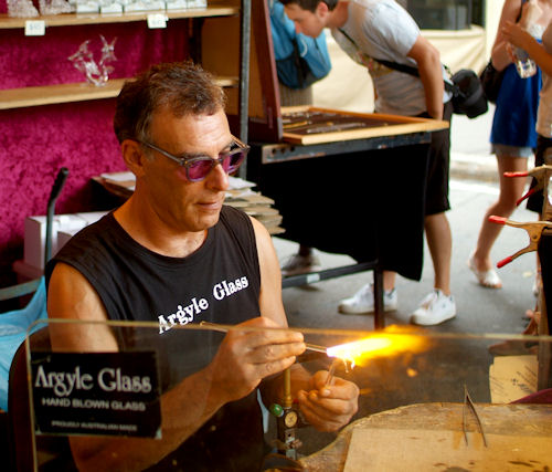Glassblower from Argyle Glass in Sydney