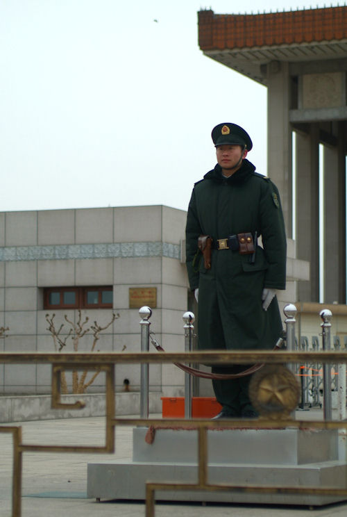 Soldier standing in Tiananmen Square