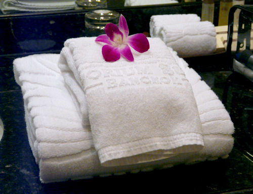 Freshly laundered hotel towels