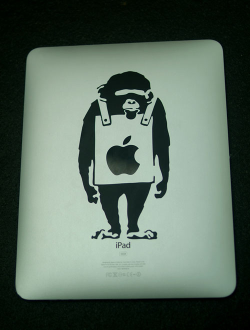 iPad with Banksy art