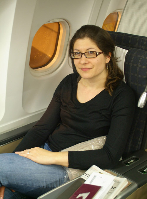 Aude on SWISS flight to Bangkok