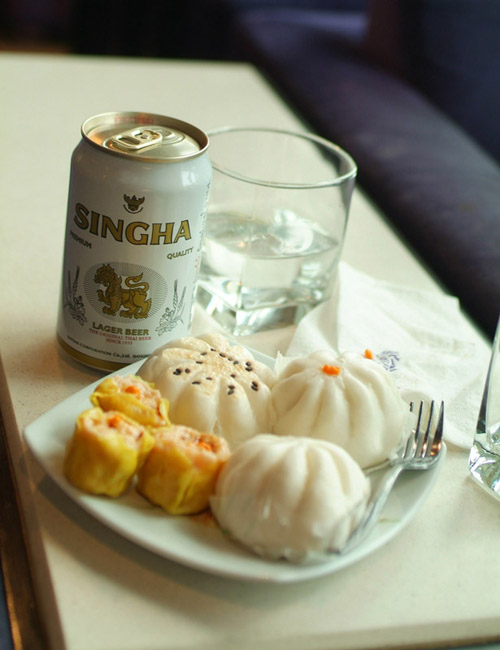 Singha Beer and dim sum at the Thai Lounge at BKK