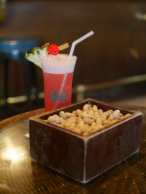 Singapore Sling and Peanuts at Raffles Hotel, Singapore