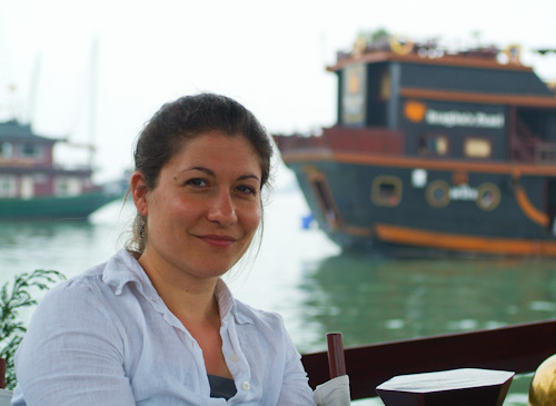 Aude in the harbour at Halong Bay