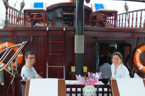 Matthew & Aude onboard the Princess 2 Junk