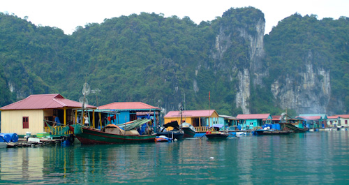 Floating village in Halong Bay
