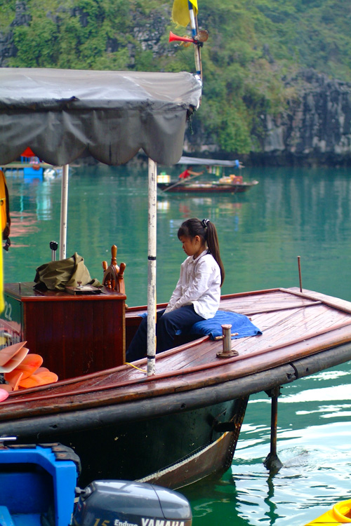 Little girl in Halong Bay