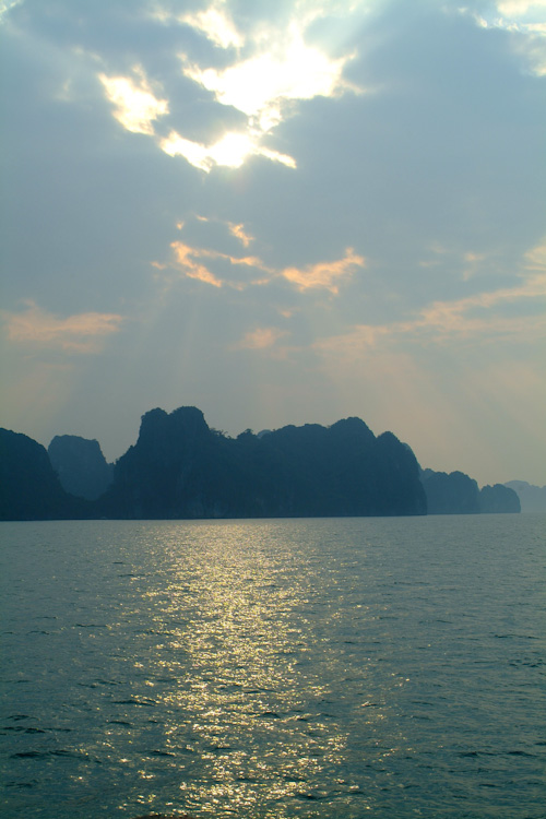 Islands in Halong Bay at sunset
