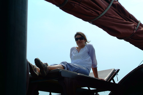 Aude relaxing on board