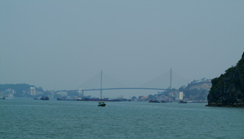 Bridge over Halong Bay harbour