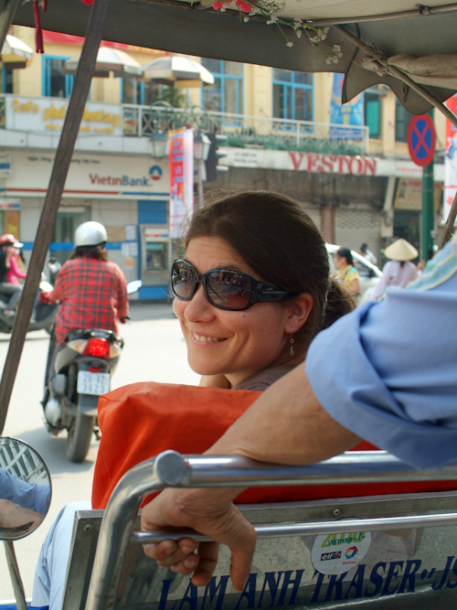Aude in a cyclo