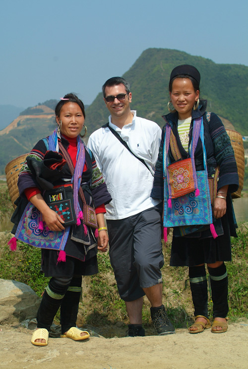Matthew with two Hmong girls in Vietnam