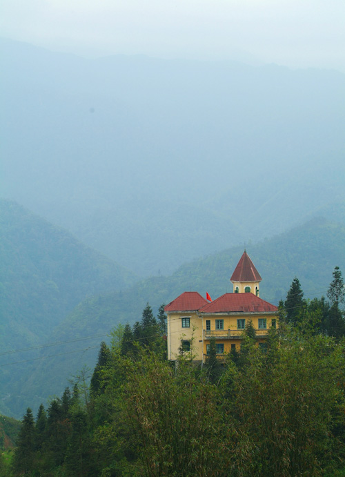 Isolated building on mountainside