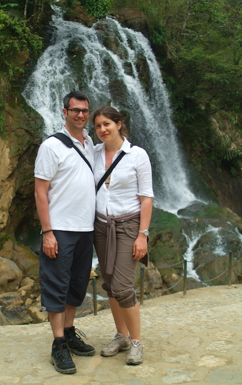Matthew and Aude by a waterfall in Sapa