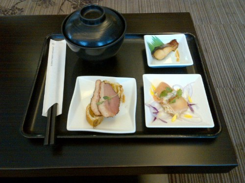 A little bit of breakfast at the JAL F-lounge in Narita.